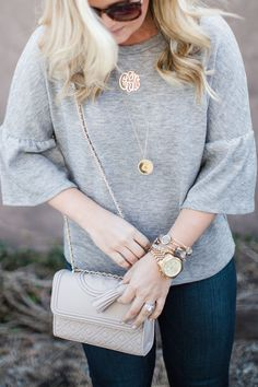 grey ruffle sleeve top, grey top with bell sleeves, grey top, grey sweater, bell sleeve top, date night outfit, spring outfit inspiration, outfit inspiration, southern style, southern blogger, greenville blogger