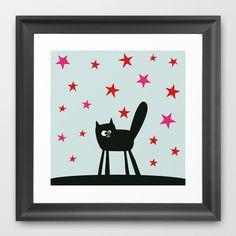 Scared Oscar Framed Art Print by Jacek Muda - $30.00 #kidsroom #print #artwork #design #cat #kids
