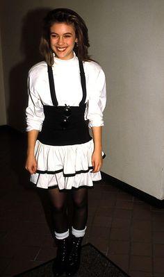 Alicia Milano, Alyssa Milano Young, 1987 Fashion, Women's Fashion, Charmed Sisters, Charmed Tv, Allyssa Milano, 80s Outfit, Girls Socks