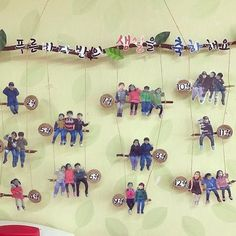 Hang all the students from branches for a perfect decoration in the preschool classroomfor birthday wall Classroom Setup, Classroom Displays, Preschool Classroom, Preschool Activities, Birthday Display, Birthday Wall, Classroom Birthday Board, Diy And Crafts, Crafts For Kids