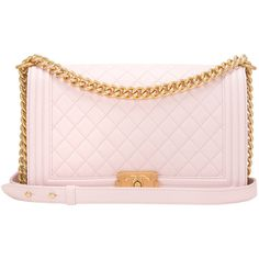Pre-Owned Chanel Pink Quilted Lambskin New Medium Boy Bag ($7,075) ❤ liked on Polyvore featuring bags, handbags, pink, colorful handbags, strap purse, preowned handbags, pre owned handbags and pink quilted purse
