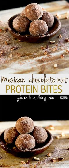 mexican chocolate walnut protein bites. gluten free and grain free! No bake and great for snacking!! Low carb, gluten free, dairy free, and delish!
