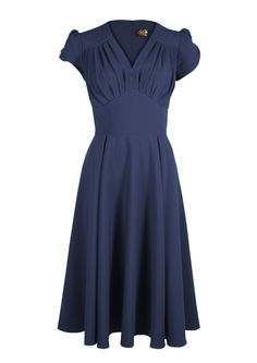 1409247-1940s So Foxy Retro Dress navy blue [1409247] - £39.99 : Queen of Holloway, Dressing Shop