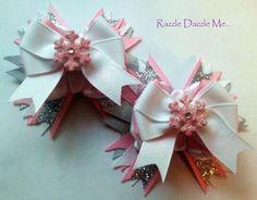 Pink Snowflake BoutiqueTwin Hair Bows / Barretts / Ribbon
