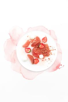 Poached Rhubarb with Spicy Strawberry Syrup, Pink Crumble and Meringue Recipe Food Photography Styling, Food Styling, Mojito, Strawberry Syrup, Mouth Watering Food, Food Places, Cupcakes, Plated Desserts, Food Design