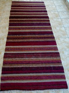 Purple Beige Ecru. Lovely!!! Vintage Kilim Rug Runner  Purple Beige  Area Rug by VintageHomeStories,