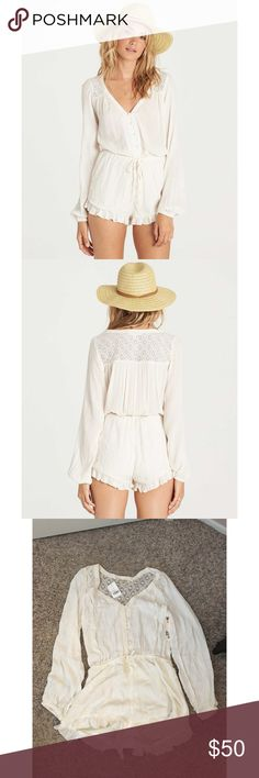 NWT Billabong White Romper Brand new with tags attached. Retails for $64.95. Billabong Pants Jumpsuits & Rompers