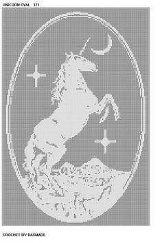 UNICORN OVAL FILET CROCHET AFGHAN MAT PATTERN DOILY 371 | CROCHETBYDASMADE - Patterns on ArtFire