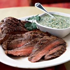 40 Top-Rated Grill Recipes | Flank Steak with Cilantro-Almond Pesto | CookingLight.com