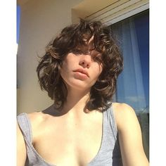The New Model Shag Haircut Is Spring's Easiest Haircut Curly Shag Haircut, Curly Hair Fringe, Curly Hair With Bangs, Curly Hair Cuts, Short Hair Cuts, Curly Hair Styles, Bangs Curly Hair, Short Curly Haircuts, Short Permed Hair