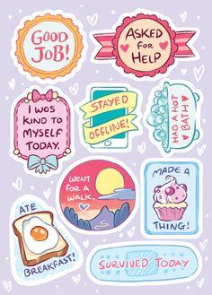 vaporwave stickers Self Care Sticker set Reward Stickers, Printable Stickers, Cute Stickers, Ideas Scrapbook, Scrapbook Stickers, Bullet Journal Ideas Pages, Bullet Journals, Journal Stickers, Planner Stickers