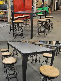 Simple Metal Table in bar height with Wright Stools by Vintage Industrial in Phoenix, AZ