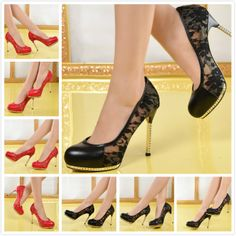 New 2014 women round toe black/red genuine leather with lace platform pumps,brand designer women high heels wedding shoes 34-41 $88.33