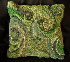 Large Blue or Green Hooked Pillow 16 by 16 by DeanneFitzStudio, $120.00