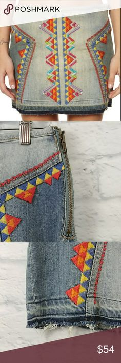 """Free People Denim Mini Skirt Size 10 Embroidered Free People Aztec Denim Mini Skirt Size 10. Gently worn shows minor signs of wear on threaded parts of skirt. Side Zip.    Waist - 15.5"""" Length - 14"""" Free People Skirts Mini"""