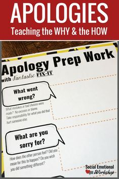 Teaching students how to say sorry, when to apologize, and what to give an apology for. Perfect for small group and individual counseling or character education lessons. Help students understand what makes a good apology, develop empathy for others, and repair relationships. Sorry! Teaching Why and How to Apologize…