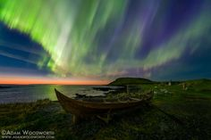 The northern lights over a rowboat in Norstead Viking Village, Newfoundland, Canada © Adam Woodworth/Aurora Photos Viking Village, Le Village, Aurora Borealis, Beautiful Sky, Beautiful World, Beautiful Images, Sky Photos, Cool Photos, Night Gallery