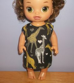 Baby 12 inch Alive doll handmade dress black with giraffes by sue18inchdollclothes on Etsy