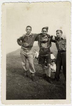 Group portrait of three Buchenwald Boys, teenage survivors of Buchenwald, in a childrens home in Switzerland.