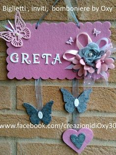 Plaque, children's bedroom, outside door, fairy, fuchsia Diy Home Crafts, Crafts For Kids, Arts And Crafts, Shots Ideas, Cute Polymer Clay, Popsicle Stick Crafts, Felt Decorations, Ideas Para Fiestas, Foam Crafts