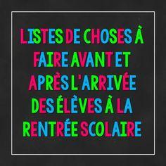 Back-to-school TO-DO LIST in French: listes de choses à faire avant et après l'arrivée des élèves à la rentrée scolaire