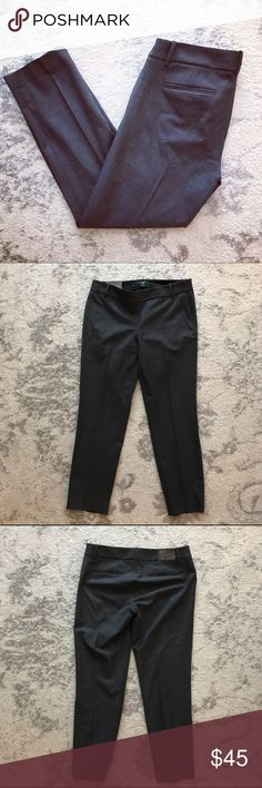 J. Crew gray Winnie pants in Stretch City Fit Brand new, never worn Winnie pants in a stretch City Fit from J. Crew. These pants have two pockets in the back, and a zippered side. These are a low fit, and sit just above the hip, fitted through the leg. They end a little above the ankle. Perfect for work! J. Crew Pants Ankle & Cropped