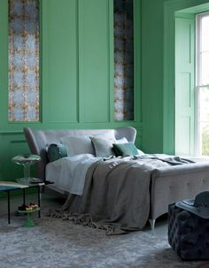 Adore green panelling for a modern take on a traditional bedroom! Green Bedroom Design, Bedroom Green, Bedroom Decor, Bedroom Designs, Bedroom Ideas, Green Bedrooms, Bedroom Inspiration, Dream Bedroom, Teen Girl Bedrooms