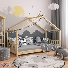 Kids House Bed Teepee Tent Toddler Bed Frame Kids Wooden House Cabin Montessori Floor bed Children's Nursery