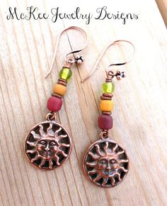 hippie jewelry | Copper sun and Indonesian glass boho earrings. on imgfave