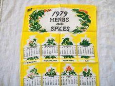 Vintage Calendar Towel Herbs And Spices 1979 by VintagePlusCrafts, $5.50