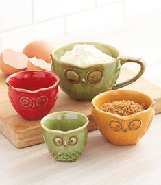 Decorative Kitchen Decor Owl Countertop 4-Pc. Food Measuring Cup Set