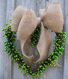 St Patricks Day Wreath Heart Wreath Burlap by NewEnglandWreath Burlap Bows, Wreath Burlap, Grapevine Wreath, Diy St Patricks Day Wreath, Irish Cottage, Berry Wreath, Wedding Wreaths, Patriotic Wreath, St Paddys Day