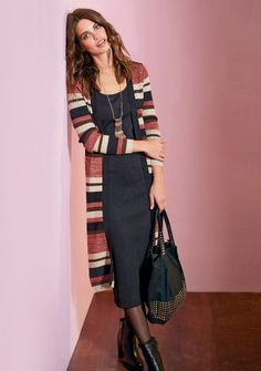 Dlhý pruhovaný kardigan #ModinoSK #musthave Zara, Must Haves, Duster Coat, Sweaters, Jackets, Dresses, Fashion, Latest Fashion, Fall Winter