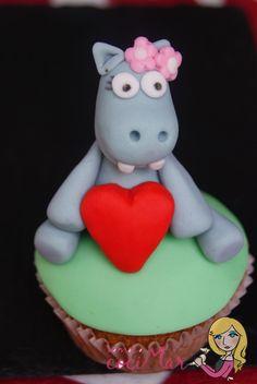 cupcake fondant hipopótama