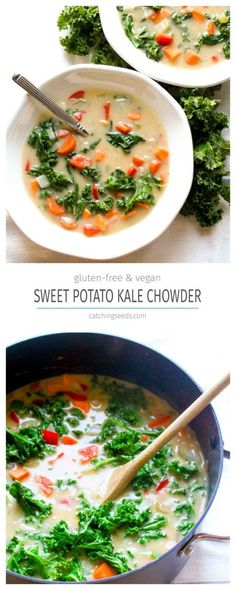 You will never believe this Sweet Potato Kale Chowder Recipe is secretly healthy! Find out the secret trick for thick and creamy dairy-free soup! Sweet Potato Chowder Recipe, Chowder Recipes, Sweet Potato Recipes, Healthy Gluten Free Recipes, Kale Recipes, Soup Recipes, Vegetarian Recipes, Vegan Meals, Yummy Recipes