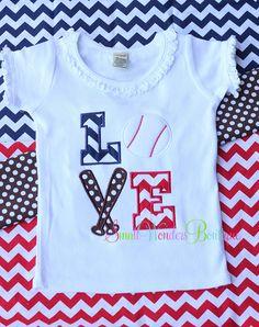 Baseball Love Shirt or Onesie - 4th of July - Baseball - Applique - Girls/Boys Shirt or Onesie - Sports. $20.00, via Etsy.