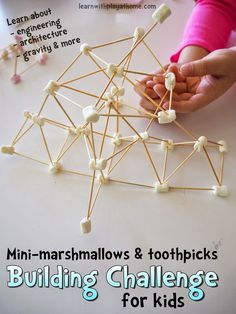 Mini-marshmallow and toothpick building challenge for kids