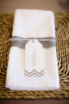 chevron detailed place cards