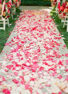 flower petals down the aisle, photo by Clayton Austin http://ruffledblog.com/flirty-calamigos-ranch-wedding #weddingceremony #ceremonies #aisledecor