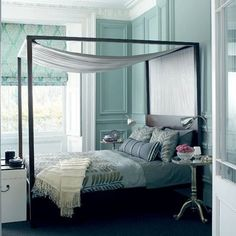 Merveilleux Bedrooms   Turquoise Blue Blue Silk Bedding Silver Pedestal Table Black  Canopy Bed Blue Silk Roman Shades Blue Walls Bedroom Thanks To Desi.