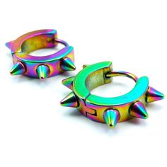 Spiked Rainbow Multicolor Huggie Hoop Leverback Earrings, Anodized... ($90) ❤ liked on Polyvore featuring jewelry, earrings, tri color jewelry, spikes jewelry, earring jewelry, rainbow jewelry and tri color earrings