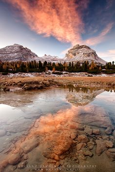 Dawn in the Fanes Natural Park, province of South Tyrol , Trentino-Alto Adige