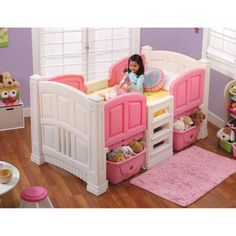 Step2 Girls' Loft & Storage Twin Bed, Pink