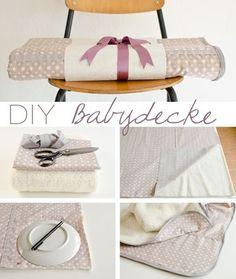 Anleitung für eine schnelle und einfache DIY Babydecke als Geschenk zur Geburt