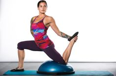 Chronically tight hips not only can make certain yoga poses difficult to perform, they can also be the cause of major discomfort, particularly in the lower back and legs. This BOSU workout is designed to make hip-opening yoga postures easier to perform, while also reducing tightness in the hips.