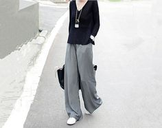 wide leg pants for women in black featuring extra by QandAfashion