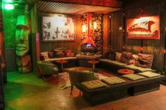 The Tonga Hut is a North Hollywood neighborhood bar that holds the distinction of being L.'s oldest Tiki bar still in operation. The Tonga Hut first opened its doors in 1958 by brothers Ace &. Tiki Art, Tiki Tiki, Kitsch, Palm Springs Hotels, Tiki Bar Decor, Tiki Lounge, Vintage Tiki, Tiki Room, North Hollywood