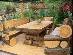 Rustic Outdoor Log Table and Benches Rustic Outdoor Furniture, Rustic Patio, Garden Furniture, Outdoor Decor, Outdoor Seating, Outdoor Living, Furniture Plans, Porch Furniture, Furniture Stores
