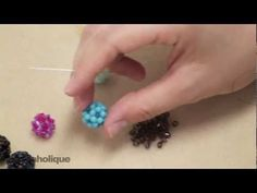 How to Make a Beaded Bead Using Right Angle Weave Double Needle Method; these beaded balls look great on anything including hoops