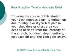 Tension Headache Pain Relief - Do This Simple Neck Stretch Chronic Tension Headaches, Tension Headache Relief, Pain Relief, Neck Stretches, Back Muscles, Back Off, Migraine, Feel Better, Health And Beauty